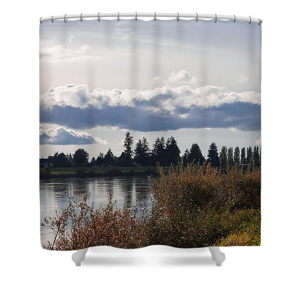 The Skagit River In Mount Vernon Washington Shower Curtain