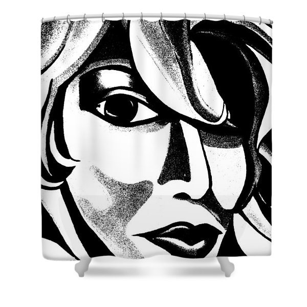 Black And White Abstract Woman Face Art Shower Curtain