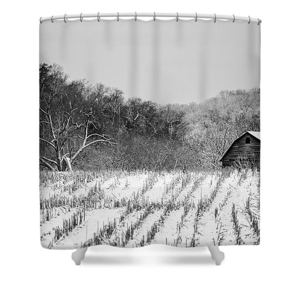 The Snowy Aftermath In Black And White Shower Curtain