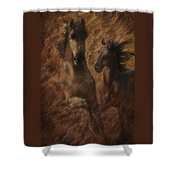 The Spirit Of Black Sterling Shower Curtain