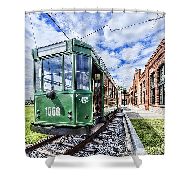 The Stib 1069 Streetcar At The National Capital Trolley Museum I Shower Curtain