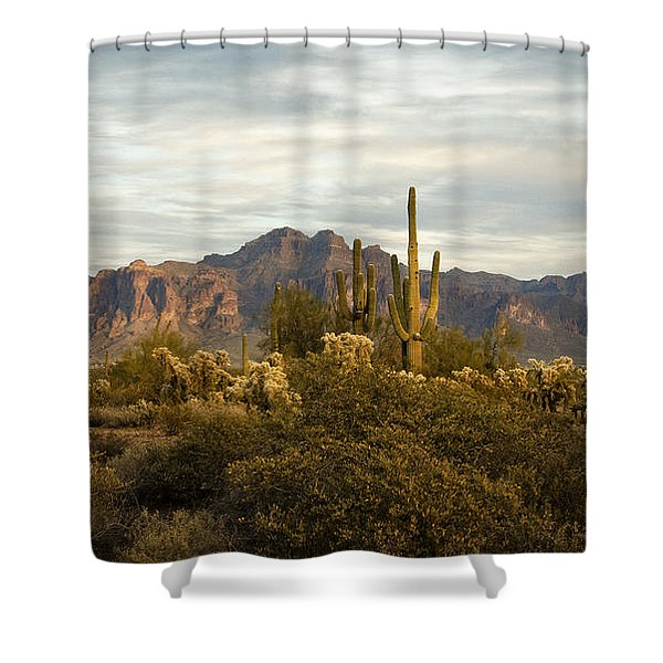 The Superstition Mountains Shower Curtain