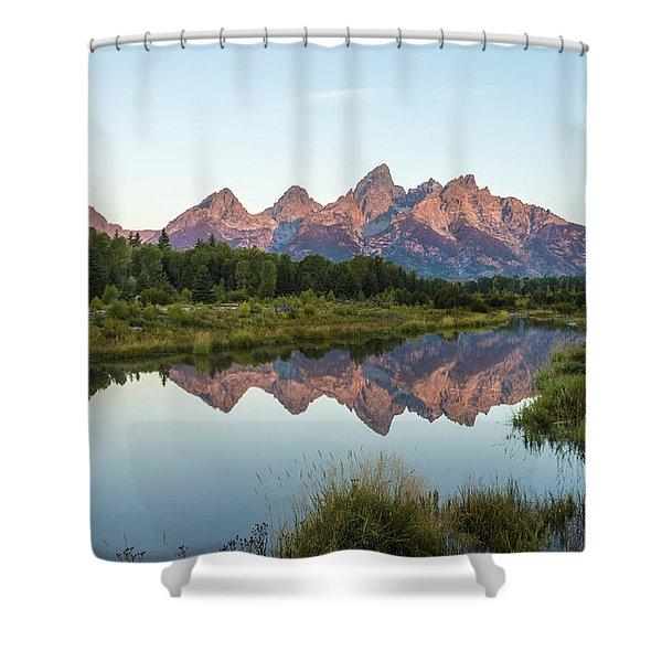 The Tetons Reflected On Schwabachers Landing - Grand Teton National Park Wyoming Shower Curtain