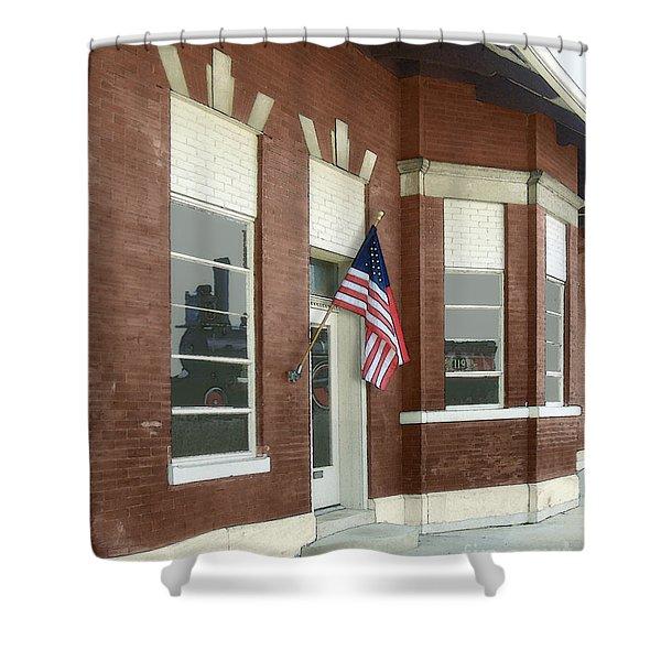 The Train Depot Shower Curtain