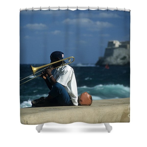 The Trombonist Shower Curtain