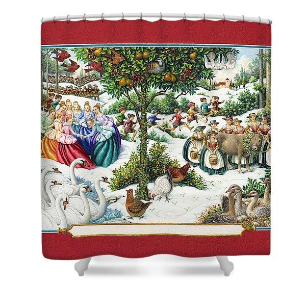 The Twelve Days Of Christmas Shower Curtain