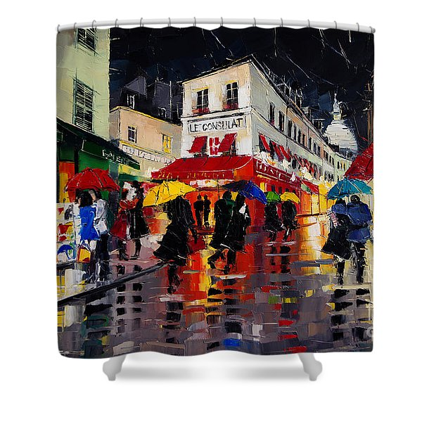 The Umbrellas Of Montmartre - Paris Impressionism Palette Knife Cityscape Shower Curtain