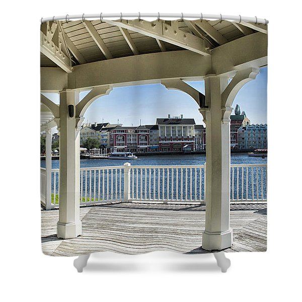 The View From The Boardwalk Gazebo At Disney World Shower Curtain