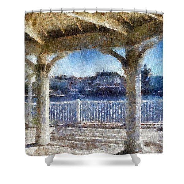The View From The Boardwalk Gazebo Wdw 02 Photo Art Shower Curtain