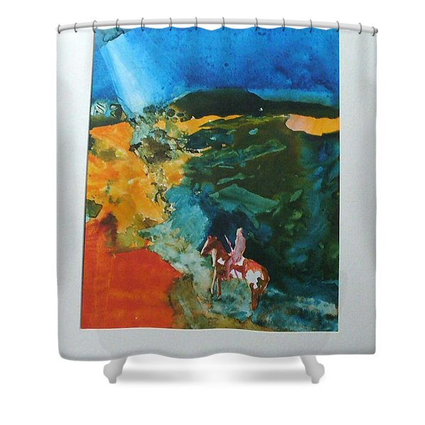 Shower Curtain featuring the painting The Village Is Near by Keith Thue