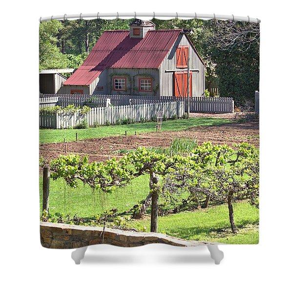 The Vineyard Barn Shower Curtain