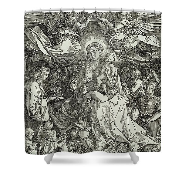 The Virgin And Child Surrounded By Angels Shower Curtain
