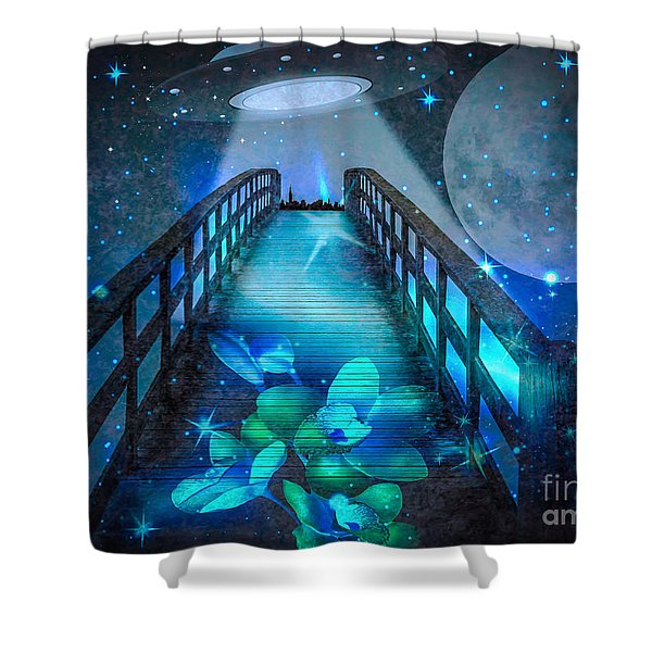 Shower Curtain featuring the digital art The Visit by Eleni Mac Synodinos