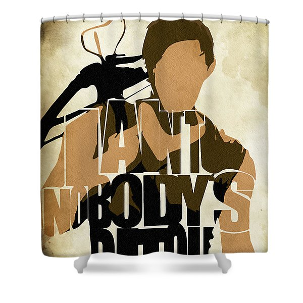 The Walking Dead Inspired Daryl Dixon Typographic Artwork Shower Curtain