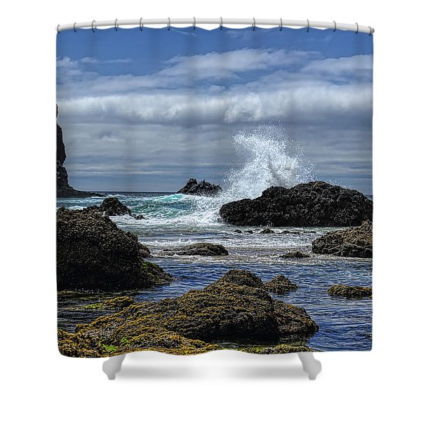 The Waves At Haystack Rock Shower Curtain