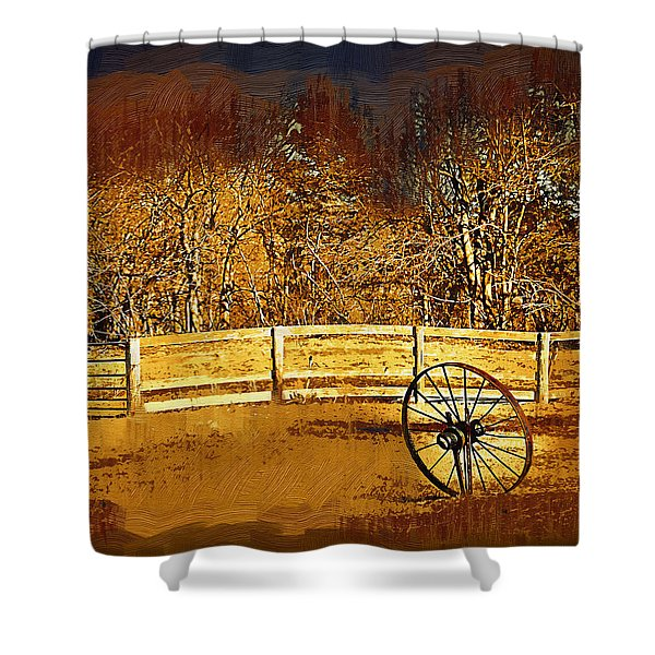 The Wheel And The Fence Shower Curtain