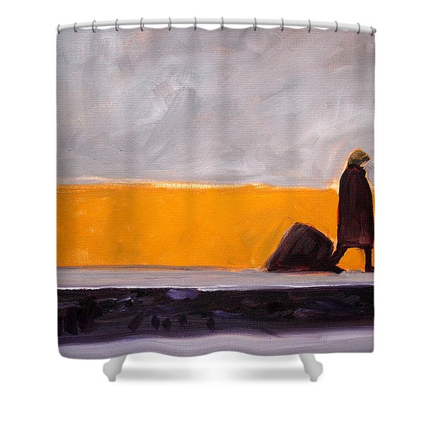 The Yellow Wall Shower Curtain