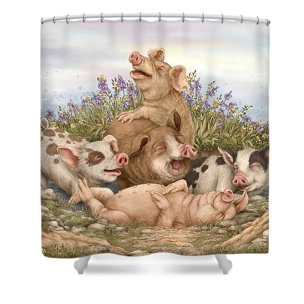 Think Happy Shower Curtain