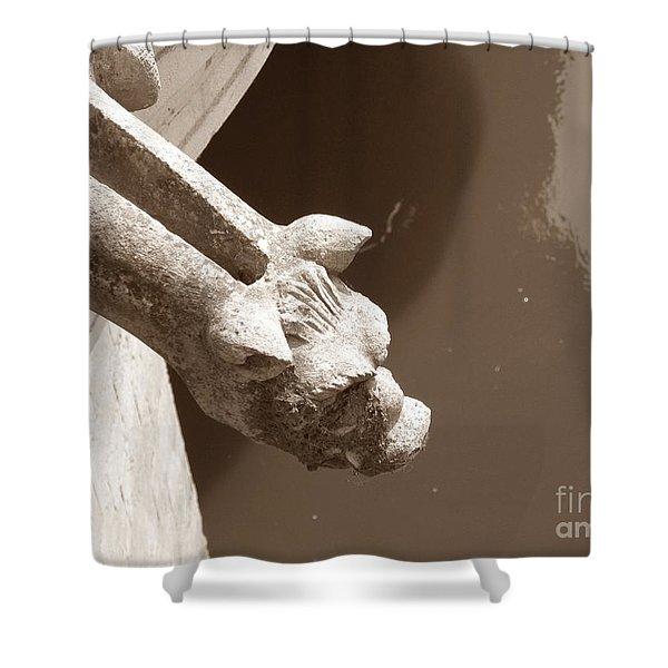 Thirsty Gargoyle - Sepia Shower Curtain