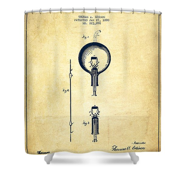 Thomas Edison Electric Lamp Patent From 1880 - Vintage Shower Curtain