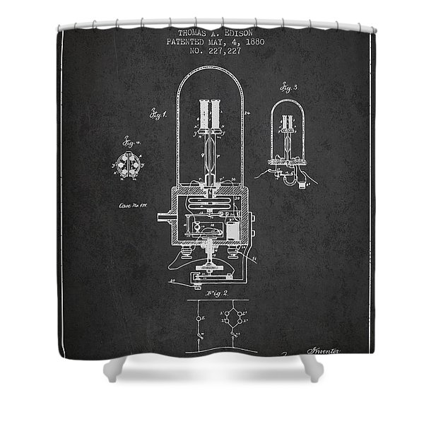 Thomas Edison Electric Light Patent From 1880 - Charcoal Shower Curtain