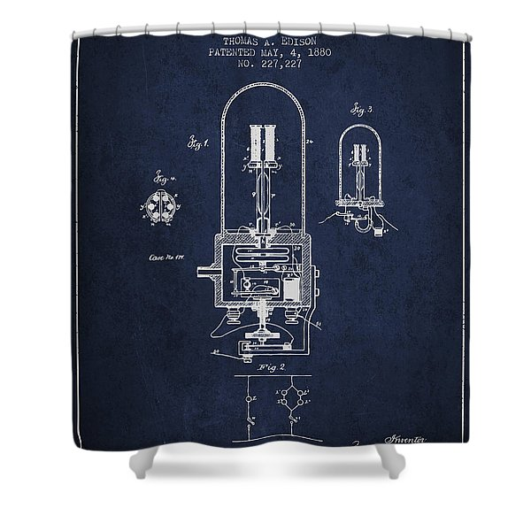 Thomas Edison Electric Light Patent From 1880 - Navy Blue Shower Curtain