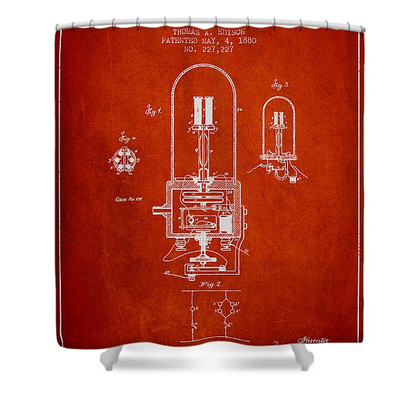 Thomas Edison Electric Light Patent From 1880 - Red Shower Curtain