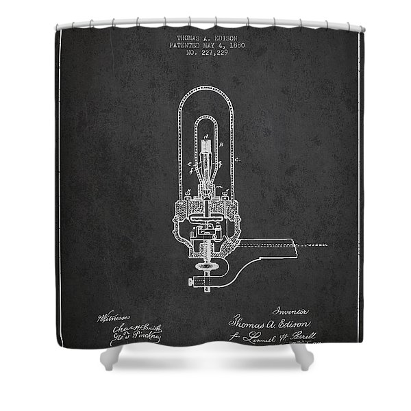 Thomas Edison Electric Lights Patent From 1880 - Dark Shower Curtain