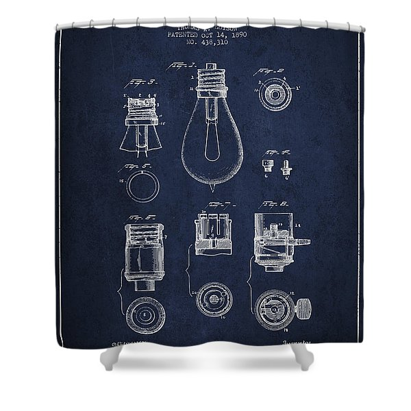 Thomas Edison Lamp Base Patent From 1890 - Blue Shower Curtain