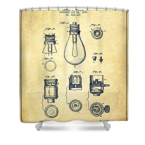 Thomas Edison Lamp Base Patent From 1890 - Vintage Shower Curtain