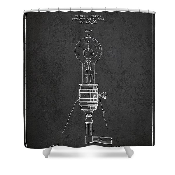Thomas Edison Vintage Electric Lamp Patent From 1882 - Dark Shower Curtain