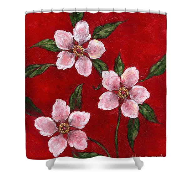 Three Blossoms On Red Shower Curtain
