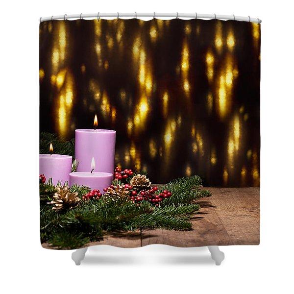 Three Candles In An Advent Flower Arrangement Shower Curtain