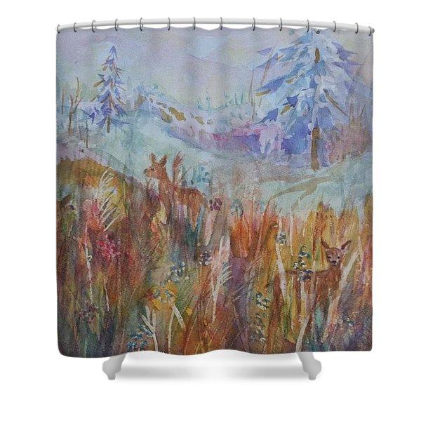 Three Deer Grazing In The Grass Shower Curtain