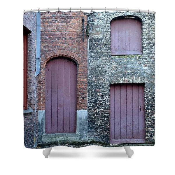 Three Doors And Two Windows Bruges, Belgium Shower Curtain