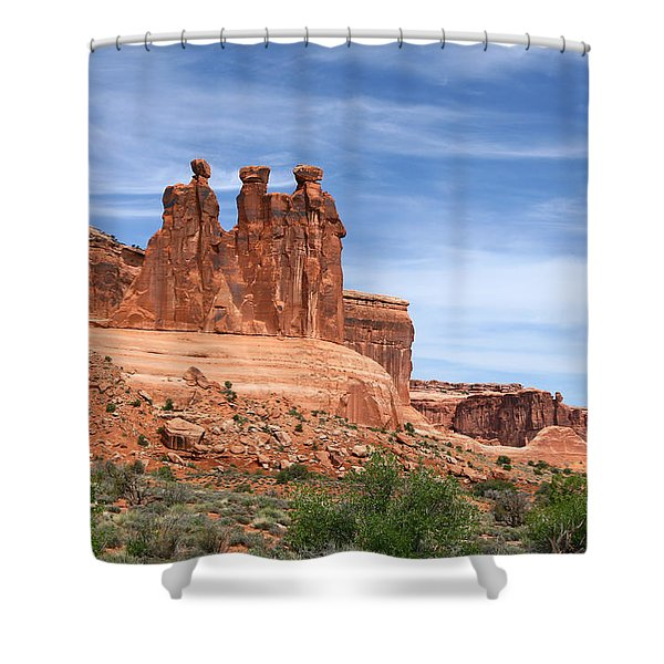 Three Gossips - Arches National Park Shower Curtain