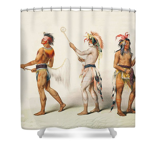 Three Indians Playing Lacrosse Shower Curtain