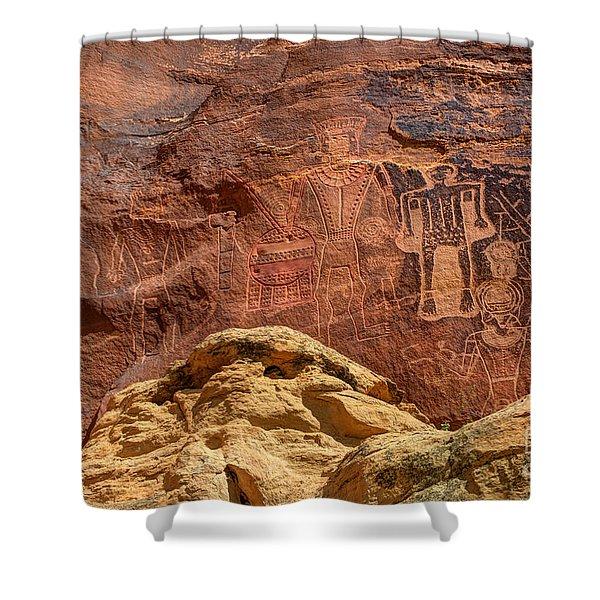 Three Kings Petroglyph - Mcconkie Ranch - Utah Shower Curtain