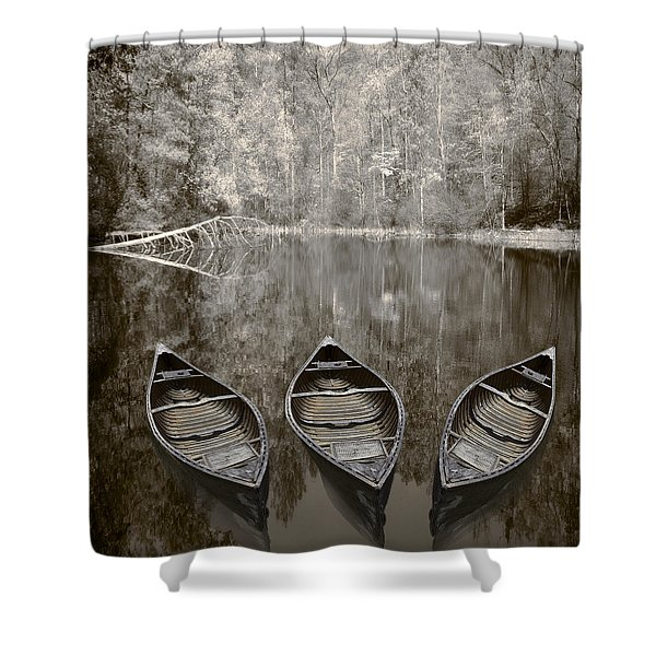 Three Old Canoes Shower Curtain