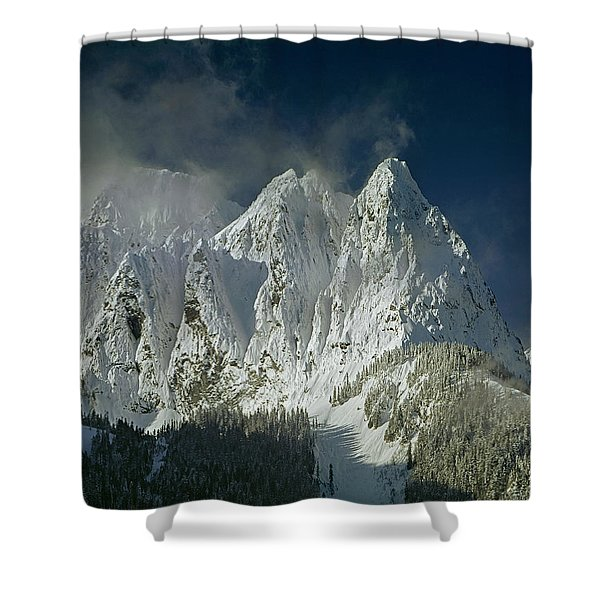 1m4503-three Peaks Of Mt. Index Shower Curtain