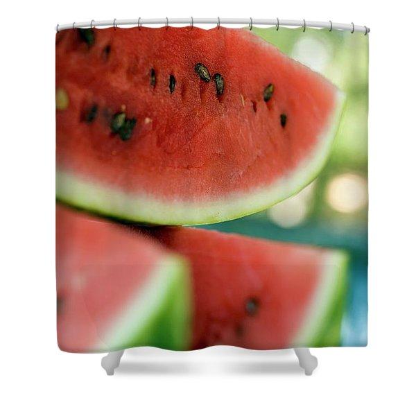 Three Slices Of Watermelon Shower Curtain