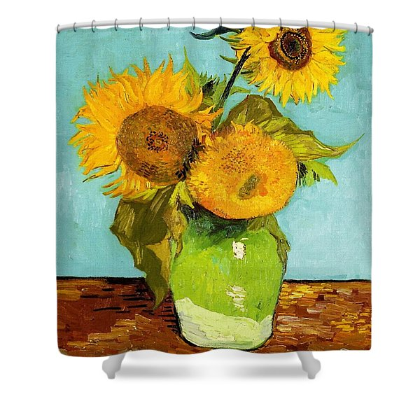 Three Sunflowers In A Vase Shower Curtain