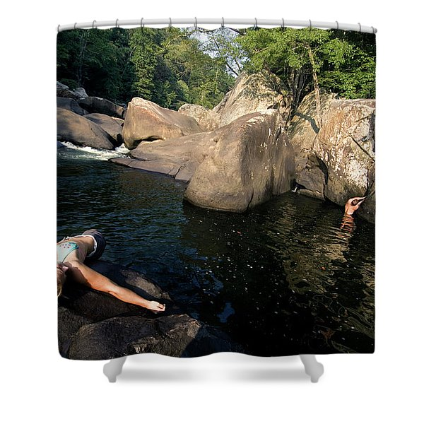 Three Young People Play And Relax Shower Curtain