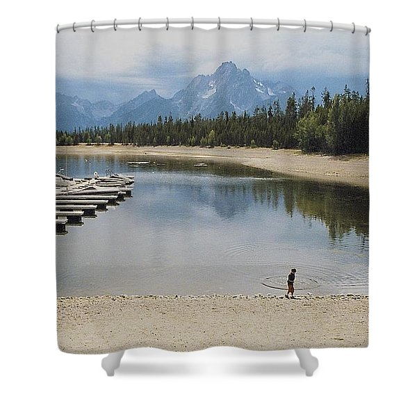 Throwing Rocks Shower Curtain