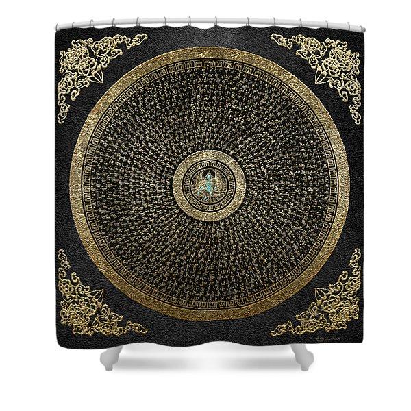 Tibetan Thangka - Green Tara Goddess Mandala With Mantra In Gold On Black Shower Curtain