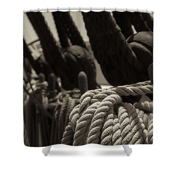 Tied Up Black And White Sepia Shower Curtain