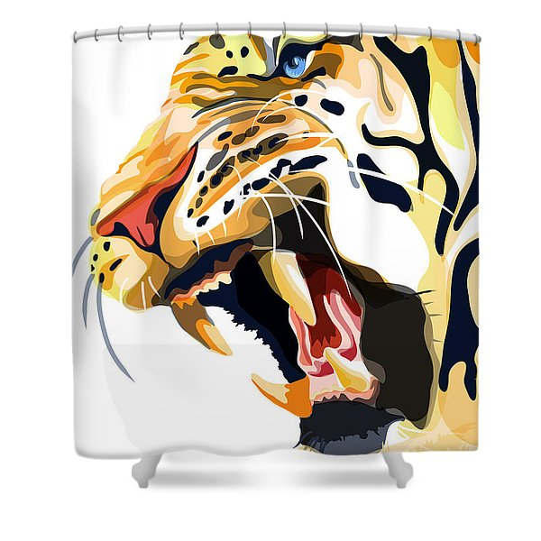 Shower Curtain featuring the painting Tiger Roar by Sassan Filsoof