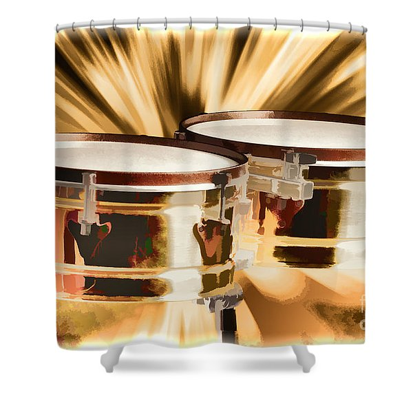 Timbale Drums For Latin Music Painting In Color 3326.02 Shower Curtain