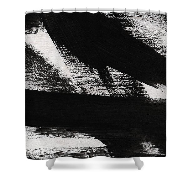 Timber 2- Horizontal Abstract Black And White Painting Shower Curtain