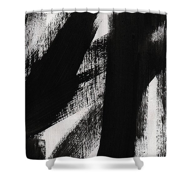 Timber- Vertical Abstract Black And White Painting Shower Curtain